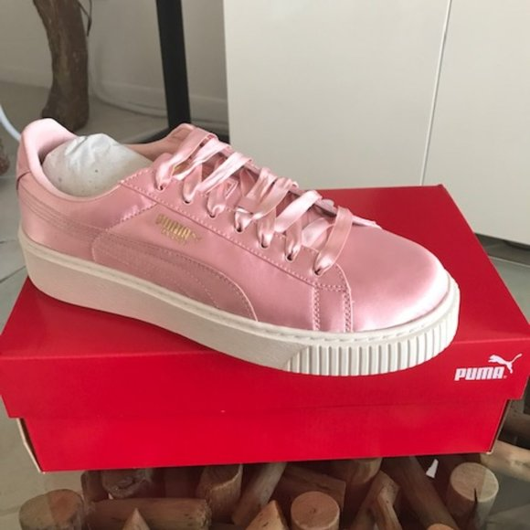 PUMA Basket Pink Satin Low-Top Platform Sneakers NWT